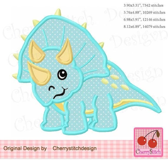 Triceratops Dinosaur Embroidered Applique Patch, Handmade, Custom Made, Iron On Patch