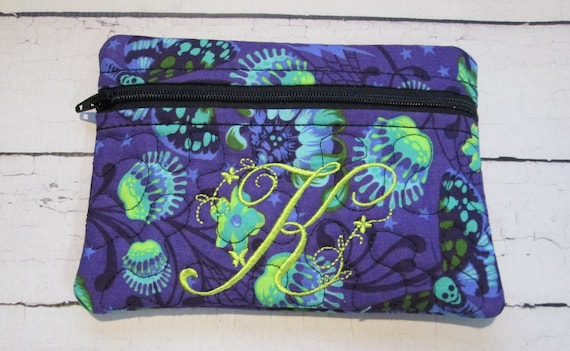 Zena Zipper Bag - DeLa Luna - Custom Made Bag, Accessory, Case, Zipper Bag, Embroidered, Handmade