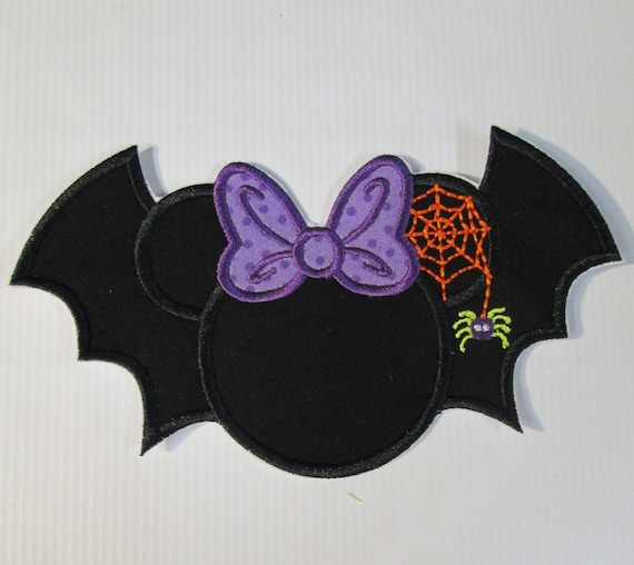 Halloween Girl Mouse Bat with Spider and Web - Iron On or Sew On Embroidered Applique
