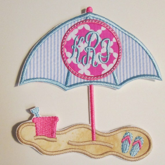 Beach Umbrella Monogram Iron On Applique Patch, Embroidered, Custom Made, Handmade, Sew On, Glue On