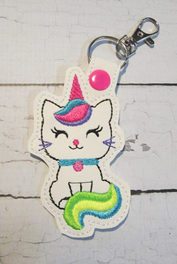 Key Fob, Rainbow Kitty Unicorn, Key Chain, Keychain, Snap Tab, Key Ring, Accessories, BigBlackDogDesigns