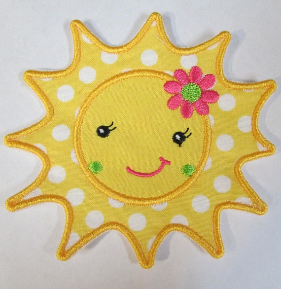 Sun With Flower, Iron On Applique Patch, BigBlackDogDesigns, Applique, Patches, Fabric, Embroidered,
