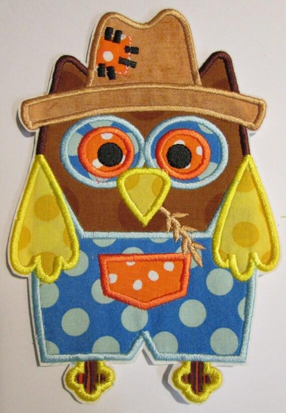 Thanksgiving Fall Scarecrow Owl - Iron On Applique