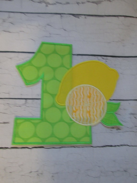 Lemon and Lemon Slice Number or Letter, Iron On Applique, Embroidery, Sew On, Handmade, Customize, Personalize, BigBlackDogDesigns