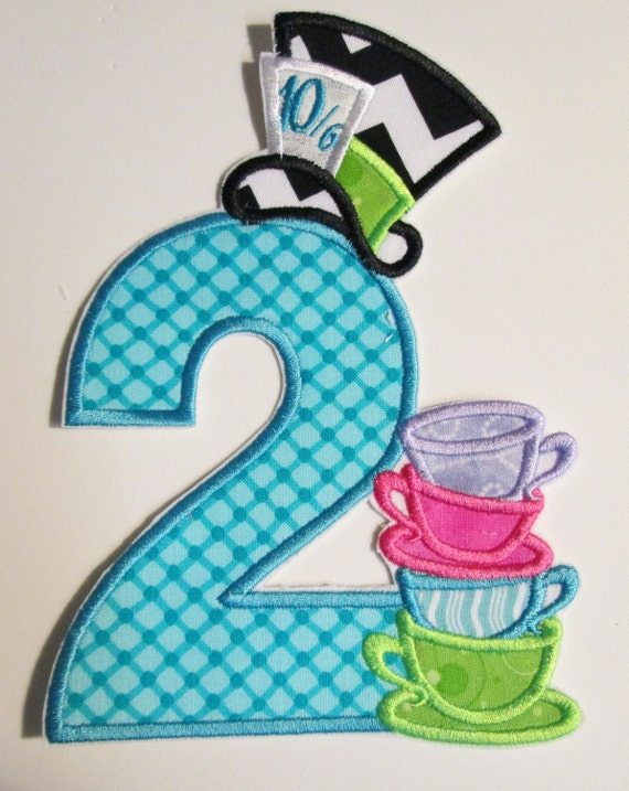 Iron On Applique -  Mad Hatter Birthday