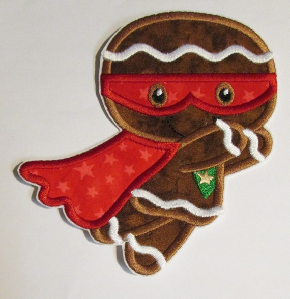 Super Gingerbread Men, Iron On Applique Patch, Sew On, Custom Made, Embroidered, Patches