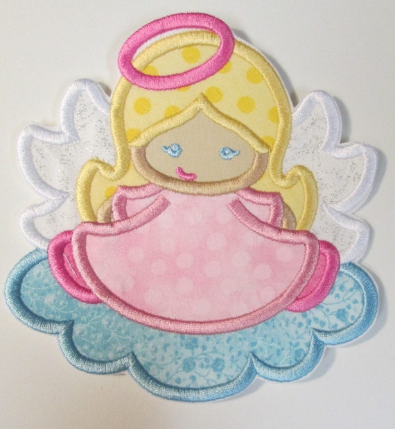 Sweet Angel Girl Iron On or Sew On Embroidered Applique - Custom Made