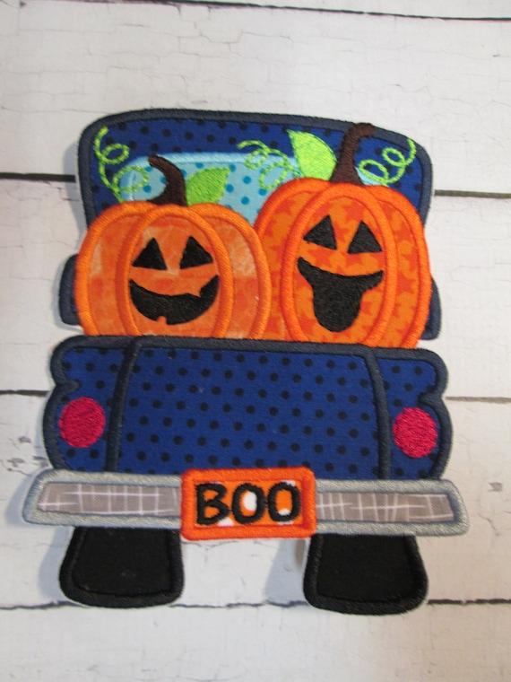 Halloween Pumpkin Truck, Halloween Jack-O-Lantern Truck, Halloween, Autumn, Pumpkin, Iron On, Applique, Embroidery, Handmade, Patch