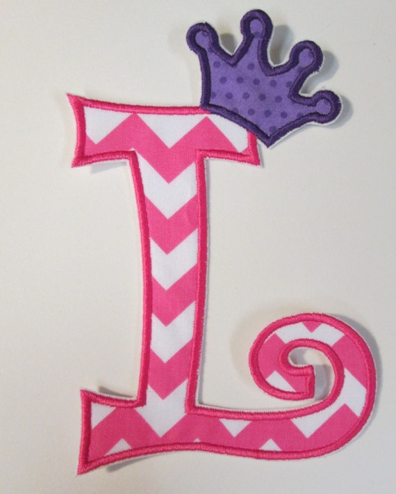 Iron On Applique - Chunky Curlz Letters with Princess Crown  READY TO SHIP in 3-7 Business Days
