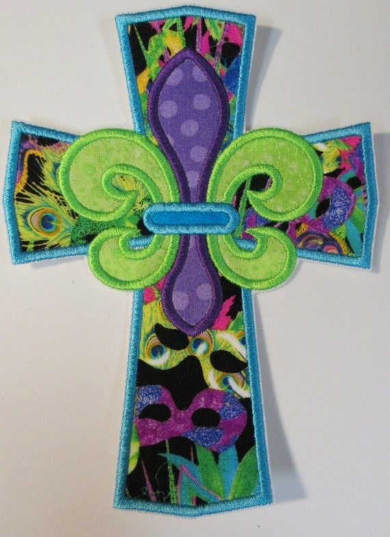 Mardi Gras Cross - Iron On or Sew On Embroidered Applique