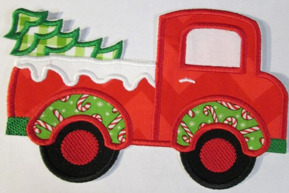 Iron On Applique - Christmas Truck with Tree