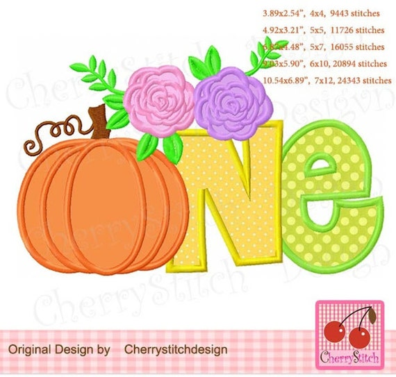 Pumpkin ONE - Iron On, Sew On, Glue On Embroidered Applique Patch, Handmade, Custom Made