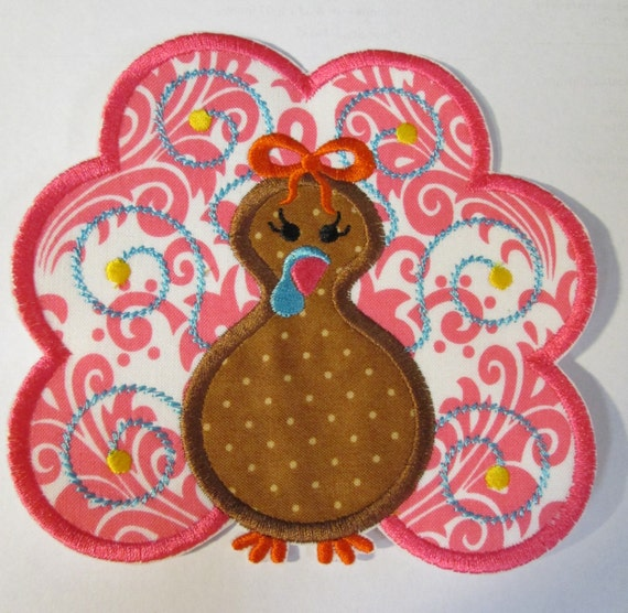 Swirly Girly Turkey - Iron on or Sew On Embroidered Custom Made Applique - SHIPS FAST