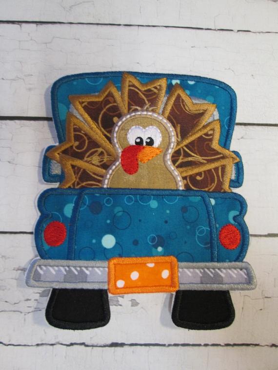 Thanksgiving Turkey Truck, Iron On Applique, Embroidery, Thanksgiving, Turkey, Fall, Autumn, Applique , Patch