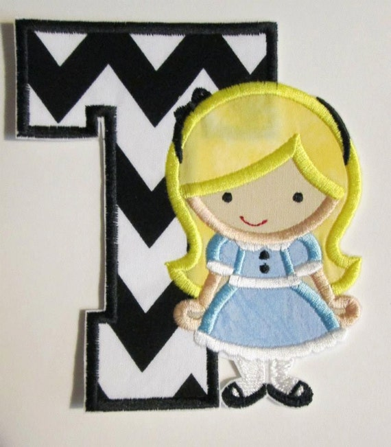Alice in the Wonderland Letter or with Birthday Number - Iron On or Sew On Embroidered Custom Made Applique