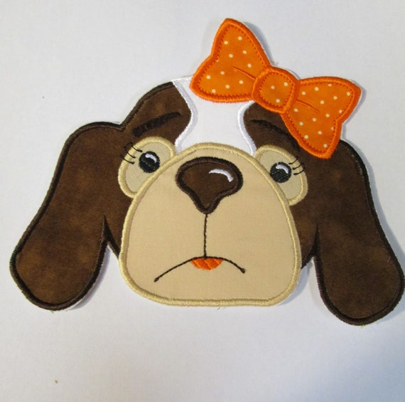 Hound Dog Girl With Bow, Iron On, Sew On, Applique, Patch, Tennessee, Vols, Mascot, Football, Embroidery, BigBlackDogDesigns