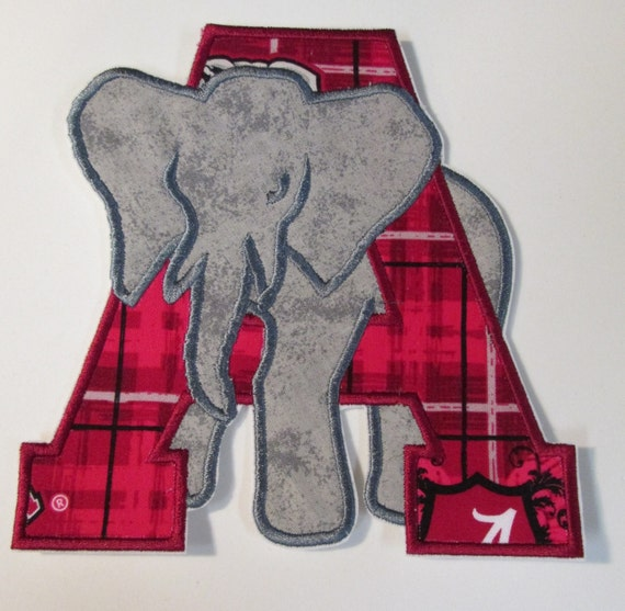 Iron On Applique - Elephant with Letter