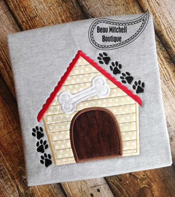 Dog House, Iron On Applique Patch, DogHouse, Dog, House, Handmade, Customize, Sew On , BigBlackDogDesigns