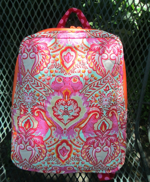 Frog Delight Backpack Purse, Handmade in USA, Purse, Day Bag, Knapsack, Quilted, BigBlackDogDesigns, Zippered Day Pack, Adult, Teen
