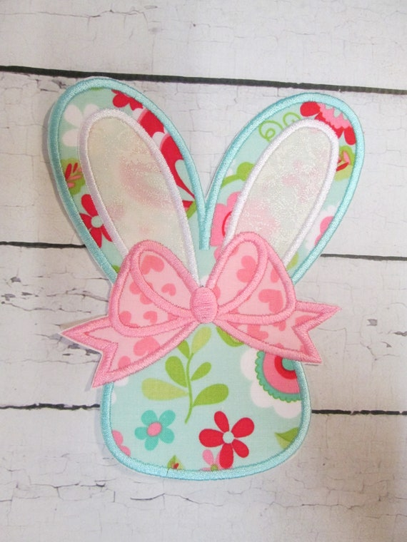 Easter Bunny with Bow Iron On Embroidered Applique Patch, Handmade, Custom Made For You