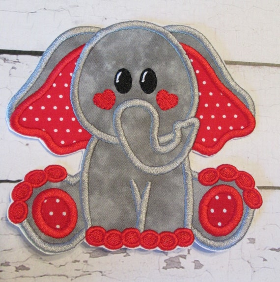 Cute Elephant Applique Patch, Embroidered Fabric Patches, Heart Elephant, Valentine Elephant, Iron On, Sew On Applique