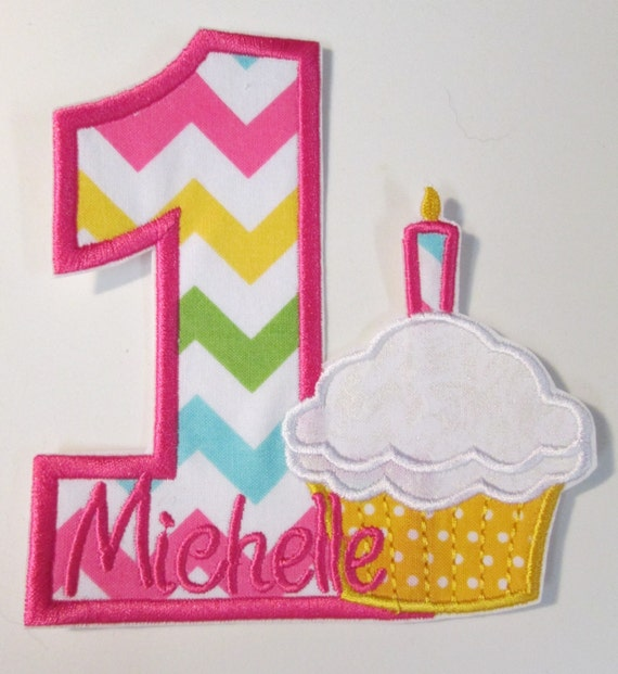 Number or Letter with Cupcake Iron On Applique Patch, Sew On, Custom Made, Embroidered, Patches