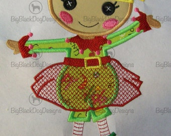 Christmas Holly Doll - Iron On or Sew On Embroidered Applique