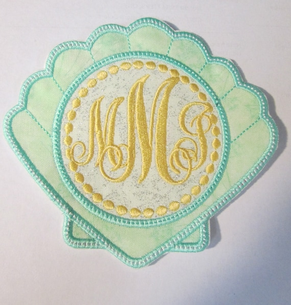 Shell Monogram, Scripty Font, BigBlackDogDesigns,Iron On Applique Patch, Sew On, Custom Made, Embroidered, Patches