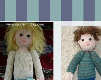 PDF pattern for Knitted Lettie and Jimmy  Dolls by Noreen Crone-Findlay