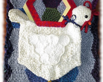 Whimsical Chicken Bag and Fried Egg Scarf Woven on Hexagon Looms PDF Pattern Designed by Noreen Crone-Findlay
