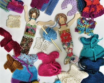 Crocheted Doll Clothes for Merrie Sunshine and Minnie Moonbeam wooden dolls
