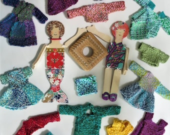 WOVEN  Doll Clothes for Merrie Sunshine and Minnie Moonbeam wooden dolls