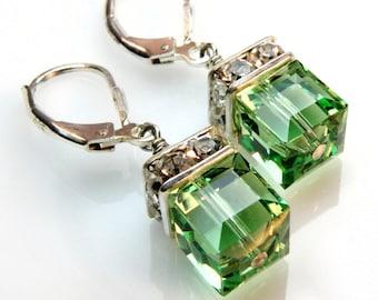 Peridot Crystal Earrings, Green Earrings, Drop Earrings, Dangle Earrings, Wedding Bridesmaid Earrings, August Birthday Birthstone Jewelry