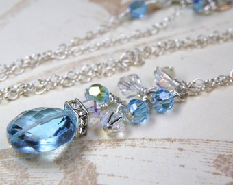Natural Blue Topaz Necklace, Sterling Silver, Artisan Teal Blue Stone Cluster Pendant, December Birthday Birthstone, Handmade Jewelry Gift