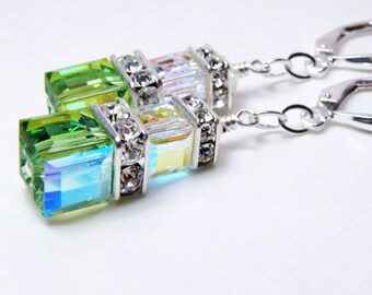 Green and Clear Crystal Earrings, Peridot Swarovski Cube, Sterling Silver, Green Crystal Dangle Earrings, Bridesmaid Spring Wedding Jewelry