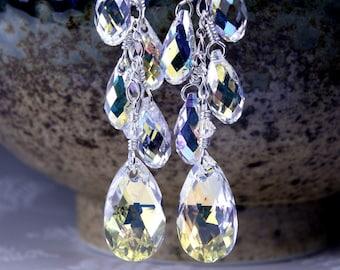 Long Chandelier Swarovski Crystal Earrings, Sterling Silver, Teardrop Wedding Earrings, Statement Earrings, Bridal Jewelry, Handmade