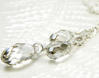 Y Drop Necklace, Silver Swarovski Crystal, Gray Crystal Necklace, Triple Pendant, Sterling Silver, Bridesmaid Necklace, Wedding Jewelry