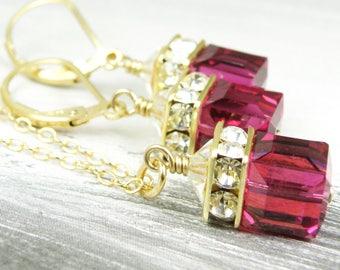 Ruby Crystal Jewelry Set, Ruby Necklace and Earrings, Fuchsia Swarovski Cube, Raspberry Wedding Jewelry, Red Bridesmaid Gift, July Birthday