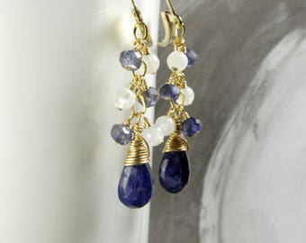 Navy Blue Sapphire Earrings, Real Stone Dangle, Tanzanite and Moonstone Accents, Gold Filled, September Birthday Birthstone, Wedding Jewelry