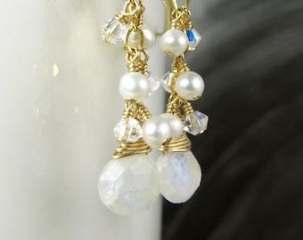 Teardrop Moonstone Earrings, White Stone Dangle, Gold Filled, Natural Gemstone, October Birthstone Jewelry Birthday Gift, Handmade Jewelry