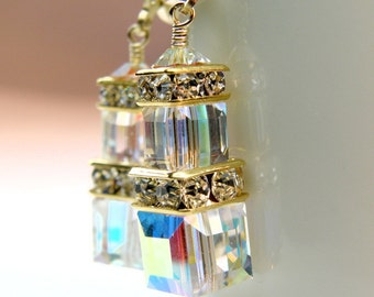 d6b53e021c24c8 Opal Crystal Cube Earrings Gold Filled