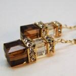 Chocolate Brown Earrings, Dangle Swarovski Crystal Cube, Gold Filled, Bridesmaids Earrings, Autumn Wedding Bridal Jewelry, Fall Fashion