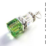 Peridot Green Swarovski Crystal Cube Stack Pendant, Sterling Silver, Custom Reserved Listing, Handmade Jewelry by Fine Heart