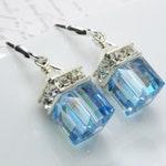 Light Teal Crystal Earrings, Blue Topaz Swarovski Cube, Sterling Silver, December Birthday Gift, Bridesmaids Earrings Wedding Jewelry