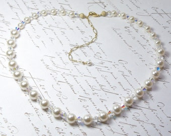 White Pearl Choker Necklace, Swarovski Pearl and Crystal, Gold Filled, Pearl Strand Necklace, June Birthday, Bridesmaid Wedding Jewelry