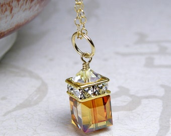 Amber Crystal Necklace, Autumn Pendant, Copper Gold Filled, Amber Swarovski Cube, Bridesmaid Wedding Jewelry, Handmade