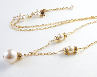 White Pearl Necklace, Gold Filled, Swarovski Pearls and Crystals, Wedding Necklace Mother of the Bride Classic Pearl, June Birthday Gift