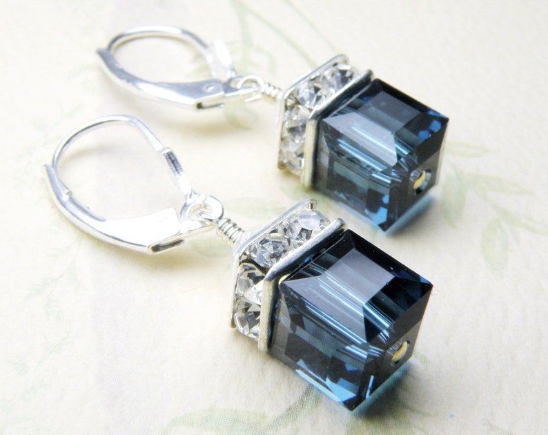 bcb886e17ba09 Sapphire Crystal Earrings, Blue Swarovski Crystal Cube, Sterling Silver  Drop September Birthday Gift, Bridesmaid Earrings Wedding Jewelry