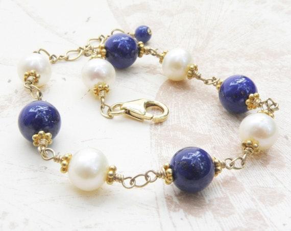 5950588f2 Natural Lapis Lazuli Bracelet Real Pearls Gold Filled | Etsy