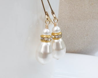 White Pearl Earrings, Gold Filled, Teardrop Swarovski Pearl Dangle Earrings, Bridesmaid Drop Wedding Jewelry, June Birthday Gift